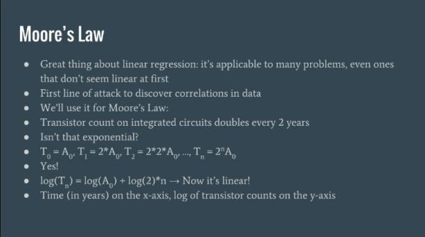 Поместив по оси х время, а логарифм числа транзисторов – по оси у, мы можем решать поставленную задачу